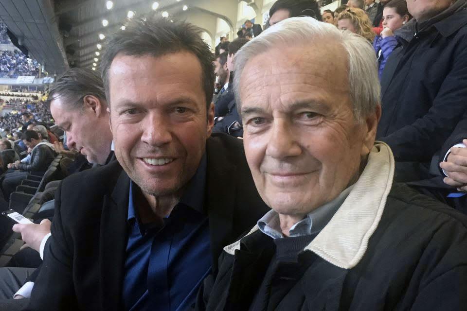 Gigi Simoni e Lothar Matthäus in tribuna a San Siro